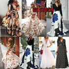Boho Womens Pocket Holiday Long Dress Ladies Summer Floral Maxi Dress US STOCK