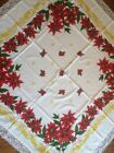 Vintage Christmas Tablecloth Tastemaker by Stevens 56 x 56 Red Gold Lace MCM
