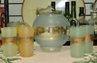 Mid-Century Frosted Gold Trim Ball Pitcher With Five Tumblers Set
