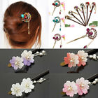 Women Vintage Acrylic Rhinestone Flower Hair Stick Pin Chinese Hair Accessories