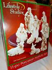 Nativity Scene Porcelain Set with 24K Gold Accent with wood Display Stand 11 Pc