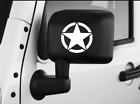 JEEP 2x US Star Army Military Matte Black White Car Mirror Decal Sticker USA