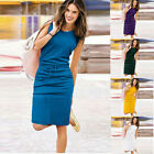 Womens Holiday Sleeveless Sundress Ladies Solid Summer Beach Casual Party Dress