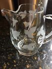 Vintage Glass Martini Cocktail Pitcher Etched With Ivy Leaves. Applied Handle.