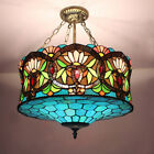 Retro Inverted Handcrafted Ceiling Light Tiffany Style Stained Glass Chandelier
