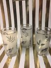 Vintage Libbey SILVER FOLIAGE Leaves 4 Oz Flat JUICE GLASSES Tumblers ~ Set of 3