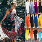 Womens Boho Summer Party Beach Holiday Sundress Casual Baggy Maxi Long Dress