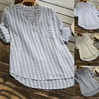 Plus Size Womens Cotton Striped Tunic Tops Linen T Shirt Summer Beach Mini Dress