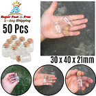 Mini Clear Glass Bottles With Cork Empty Transparent Jars Containers 12pcs 15ml