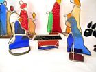 Vintage 9 PC Quality CHRISTMAS 8 STAINED GLASS NATIVITY SET Thick Glass