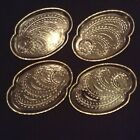 4 MID CENTURY GLASS SANDWICH PLATES WITH WHEAT FRONDS PATTERN