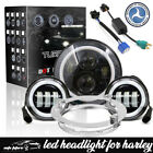 DOT Fit for Harley Touring Black 7 LED Projector Headlight+45 Passing Lights