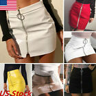 US Women High Waist PU Leather Mini Skirt Ladies Short Sexy Bodycon Skirts Dress
