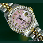 Women's Rolex 26mm Datejust 2 Tone Pink Mother Of Pearl Dial with 8+2 Diamond