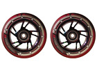 Pair Pro Black  Red Mix PU Kids Child Swirl Stunt Wheels 100mm Rainbow Core