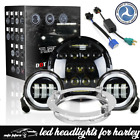 Fit Harley Electra Glide Classic BLK 7 LED Headlight + 45 Passing Lights