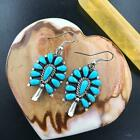 Silver and Turquoise Squash Blossom Womens Dungle Earrings Navajo Native America