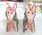 Vintage pink  Gray Donkey Mule  Salt and Pepper Shakers Japan 2 Long see