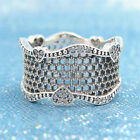 Authentic 100% 925 Sterling Silver Lace of Love Clear CZ Ring Size 5 6 7 8 9