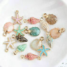 13 Pcs Mixed Starfish Conch Shell Metal Charms Pendants For DIY Jewelry Making