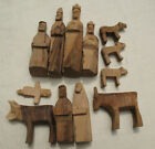 Set of 12 Hand Carved Olive Wood Nativity Set Small Christmas Decoration
