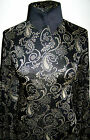 Black and Gold Metallic Knit Exotic Paisley Print Lycra Stretch Fabric 1 Yd 18in
