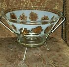 Libbey Glass 22K Gold Leaf Golden Foliage Salad Chip Punch Bowl and Server