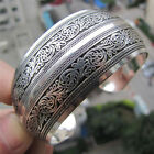 Tibetan Silver Plated Tibet Totem Bangle Jewelry Cuff Wide Bracelet Antic Wo TS