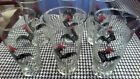ROOSTER GOBLETS-SET OF SIX CLEAR GLASS WITH RED AND BLACK ROOSTERS VINTAGE