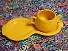 Fiestaware Sunflower  Fiesta Yellow Figure 8 Tray with sugar cup
