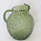Vintage Anchor Hocking Lido Milano Green Glass Pitcher Crinkle Bubble