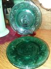 Vintage Tiara Green Spruce Sandwich Glass 1980s Luncheon 8 Plates SALE