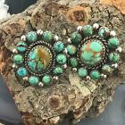 Silver Native American Turquoise Cluster Stud Earrings For Women