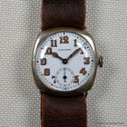 LONGINES 1920s 925 SILVER TRENCH WATCH 32MM WHITE ENAMEL DIAL PATINA RADIUM