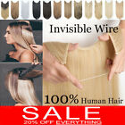 100% 120g Remy Hidden Crown Halos Invisible Wire Weft Human Hair Extensions P398