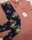 lularoe Outfit Xl Irma Dusty Rose Solid  TC Navy With Roses Dusty Pink Yellow