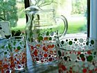 Vintage Polka Dots 3 Glass Tumblers - Pitcher - Bowl - Mid Century Serving Set