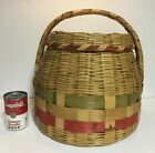 Vtg Large Basket w lid and handle 14 tall x 13 diameter Green