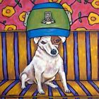 8X8 8X8 jack russell terrier at the pet salon dog art tile gift