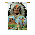 Breeze Decor Native American 2 Sided Vertical Flag