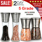 4x Salt and Pepper Grinder Set Stainless Steel TemperGlass Ceramic Mills Shakers