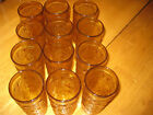 Set of 12 Vintage Indiana Glass Amber Pin Wheel 5.5