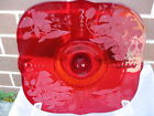 Paden City glass Ruby Red ORCHID 412 crows foot Cake EXCELLENT