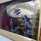 Vintage Christmas Shadow Box Nativity Set Diorama Musical Pewter Figures Frame
