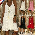 Women Casual Spaghetti Strap Sleeveless Solid Short A Line Mini Beach Dress Plus
