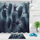 Halloween Horror Screaming Ghost Faces Blood Hands Fabric Shower Curtain Set 72