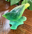 Daum Bird Green  Yellow Pate de Verre Signed Great Condition 3 Inch Length