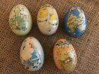 Vintage EASTER EGG CANDY TIN LITHO PRINTED SPRING VICTORIAN Set 5 Chick Bunny