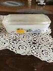 Fire King Gay Fad Oven Ware Loaf Pan/Refrigerator Dish With Lid 8 1/4