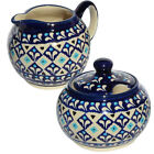 Polish Pottery Sugar Bowl and Creamer GU694 711 217a